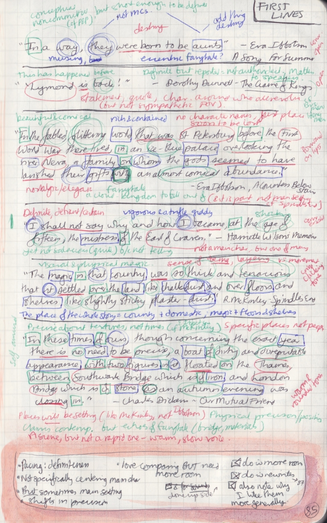One observation page showing sentence analysis