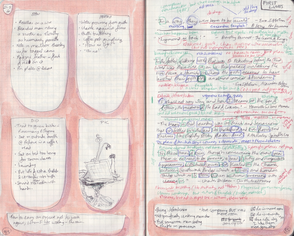 Double-page spread of observation journal. On the right, five things seen, heard, and done, and a picture of a drawing board. On the right, densely handwritten notes analysing sentences.