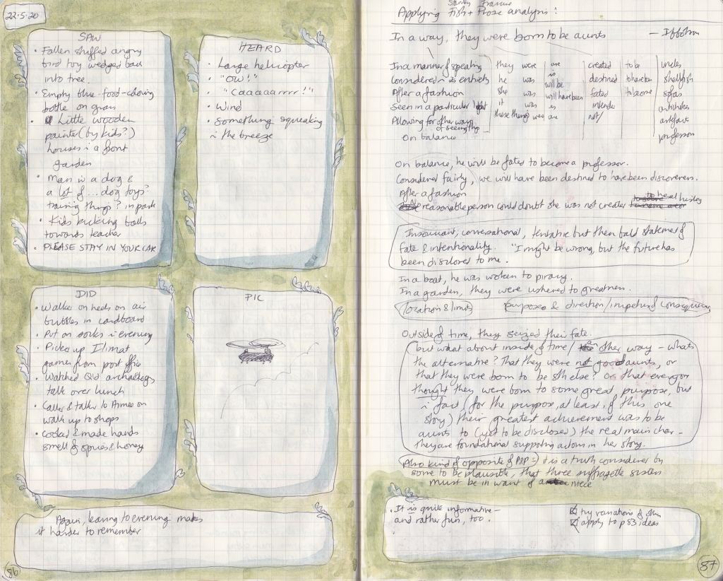 Double-page spread of observation journal. On the right, five things seen, heard, and done, and a picture of a drawing board. On the right, densely handwritten notes analysing a sentence.