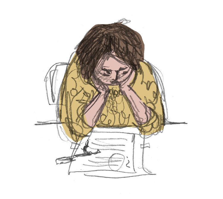 Pencil drawing with digital colour. Me in a yellow blouse, chin in hands, frowning at paper