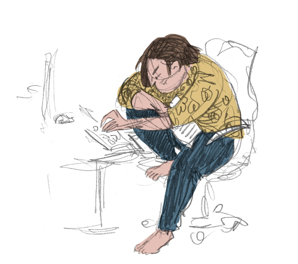 Pencil drawing with digital colour. Me in a yellow blouse and blue jeans, grumpily typing.
