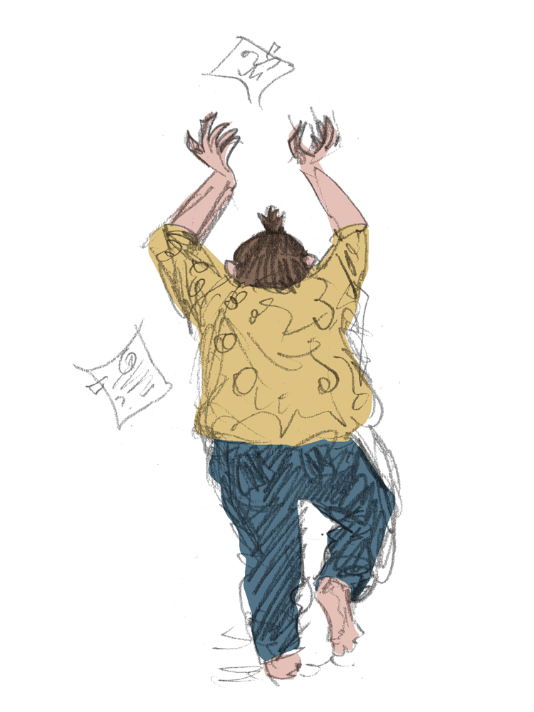 Pencil drawing with digital colour. Me in a yellow blouse and blue jeans, from the back, throwing paper in the air.