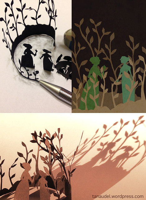 Cut paper silhouettes of trees curled around two women in Regency dress