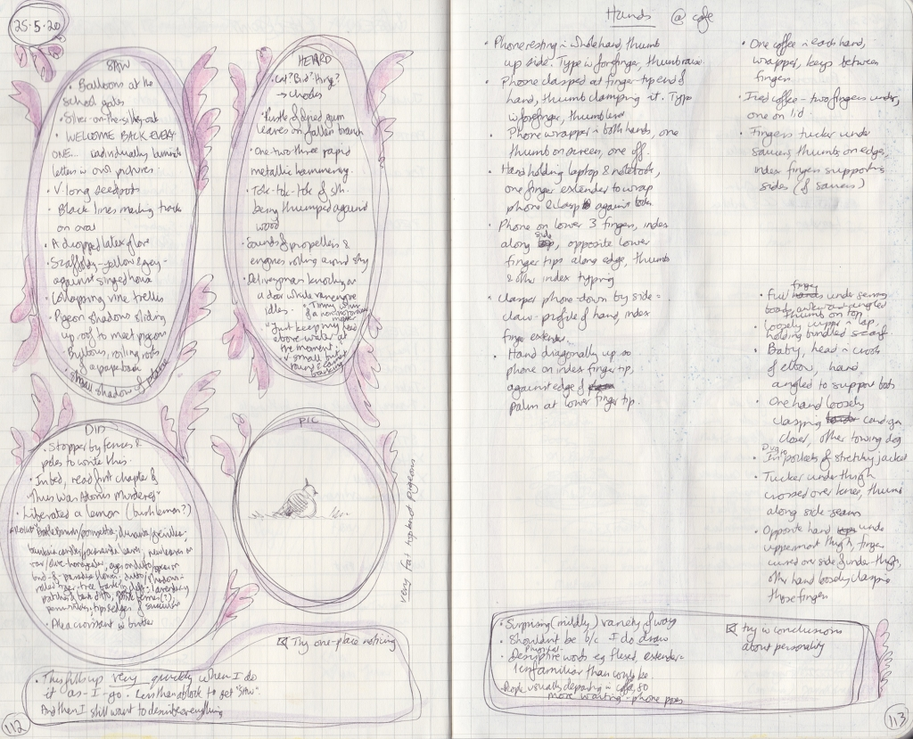 Double page of observation journal. On the right, five things seen, heard, and done, and a drawing of a fat pigeon. On the right, a dot point list of ways people held their hands at a cafe.
