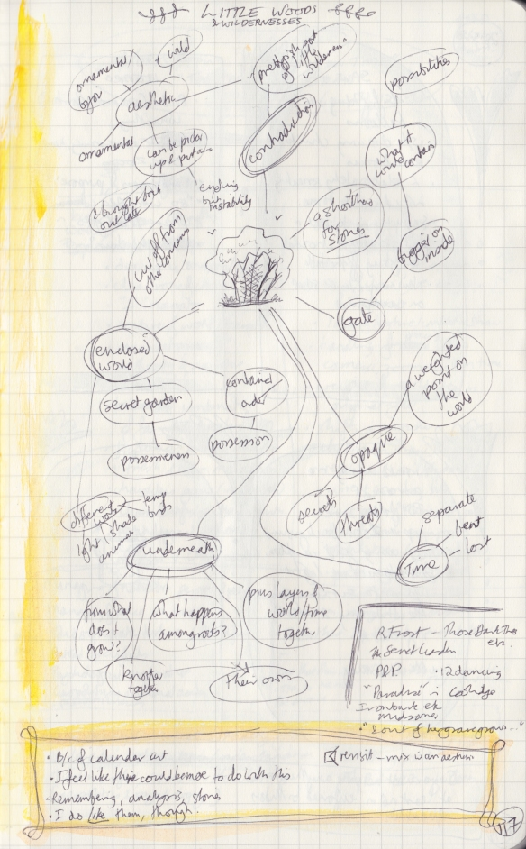 The right page of the observation journal, with handwritten thoughts on small forests.