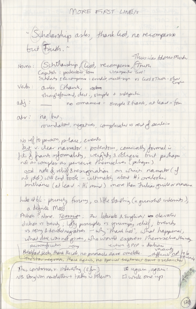 Handwritten thoughts on the first line of Thus Was Adonis Murdered.