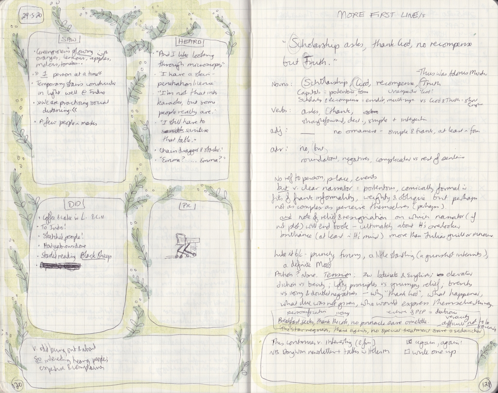 Double-page spread of observation journal: On the left page, five things seen, heard, done, and a picture; On the right, thoughts on first lines.