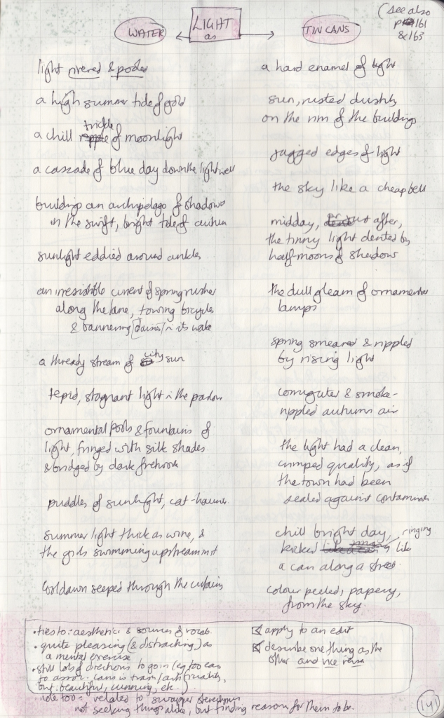 Handwritten page using terms associated with water and tin cans to describe light.