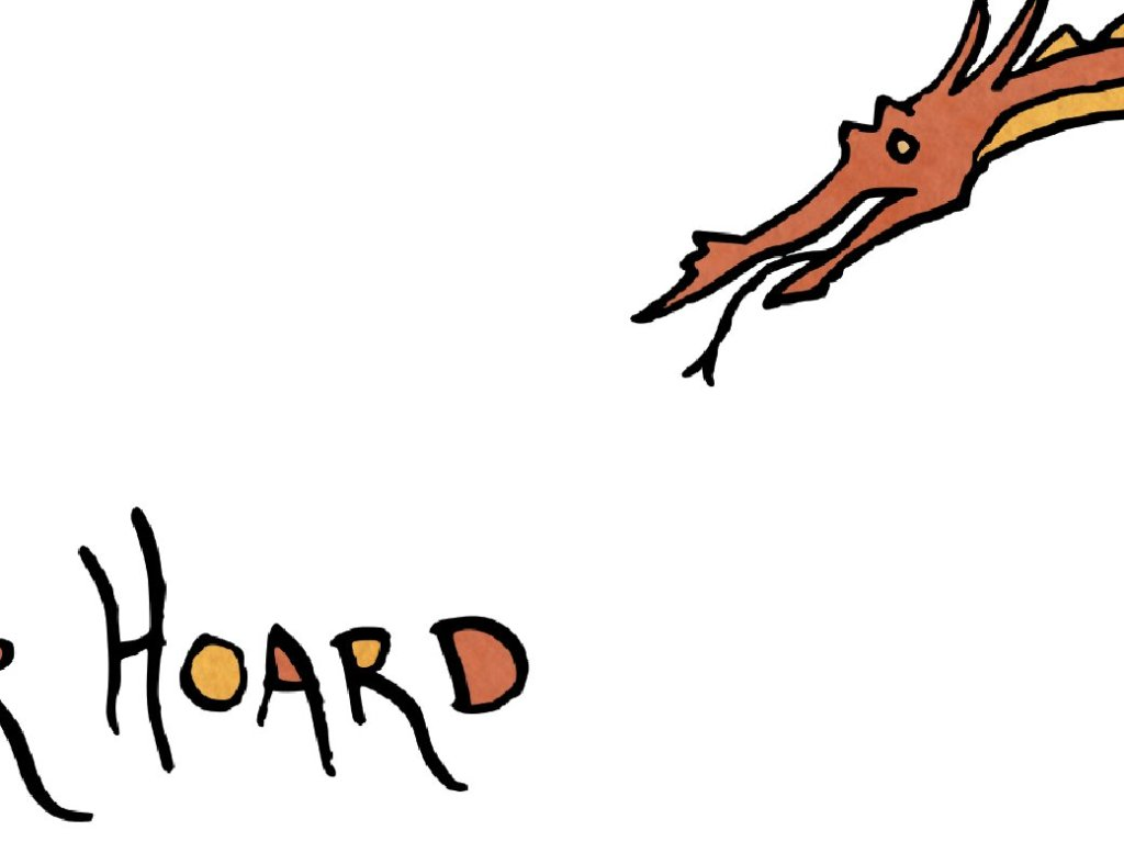 """Glimpse of dragon head and the lettering """"Hoard"""""""