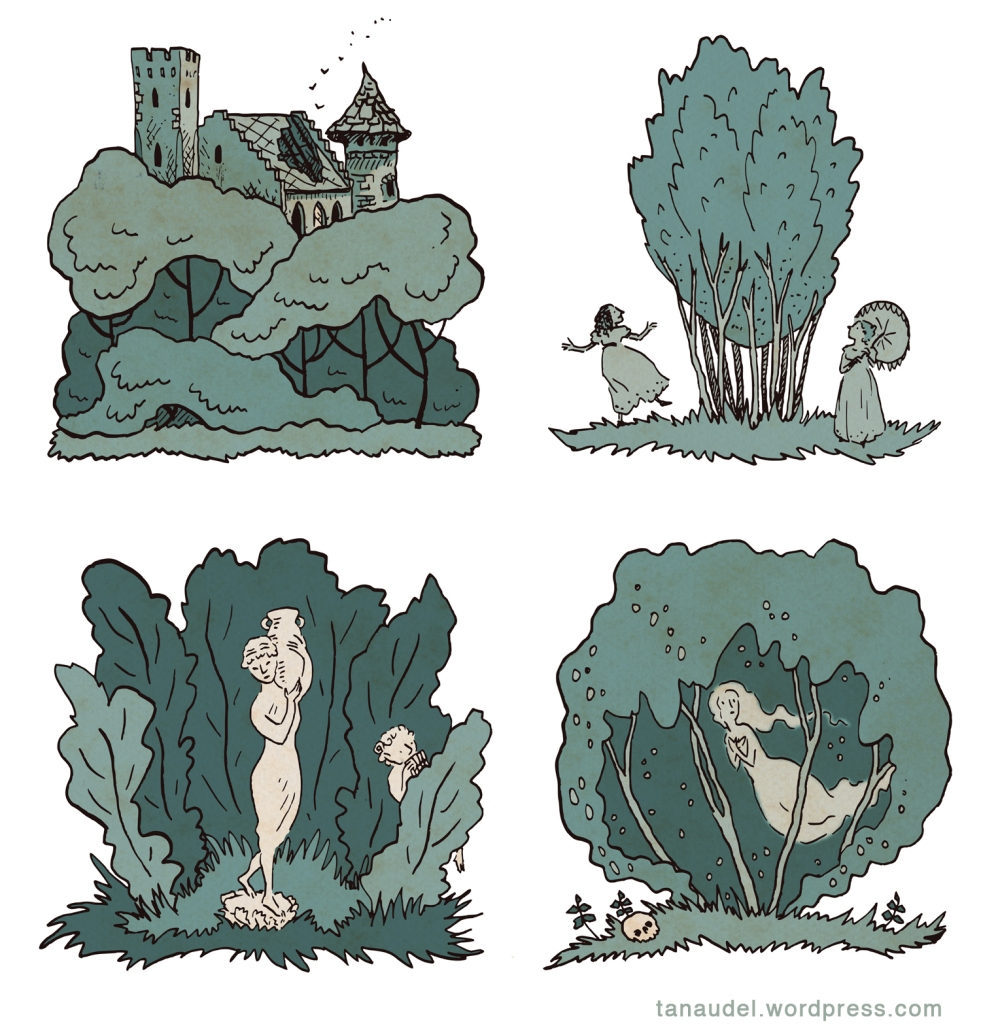 Four ink drawing coloured in greeny-blue. A ruined castle behind trees. Two women circling a stand of trees. A statue carrying a jar and a statue of a dancing faun among trees. A skull below and a ghost within a canopy of trees.