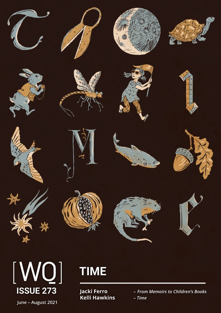 Front cover of magazine in brown, blue, and yellow: T, shears, moon, tortoise, rabbit, mayfly, girl with flag, I, swallow, M, shark, acorn, comet, pomegranate, rakali, E