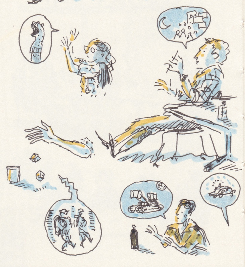 Tiny black-line drawing with dashes of blue and yellow marker.  People talking and rolling dice, describing sock-puppets, crowds, soldiers, a bulldozer and a police car