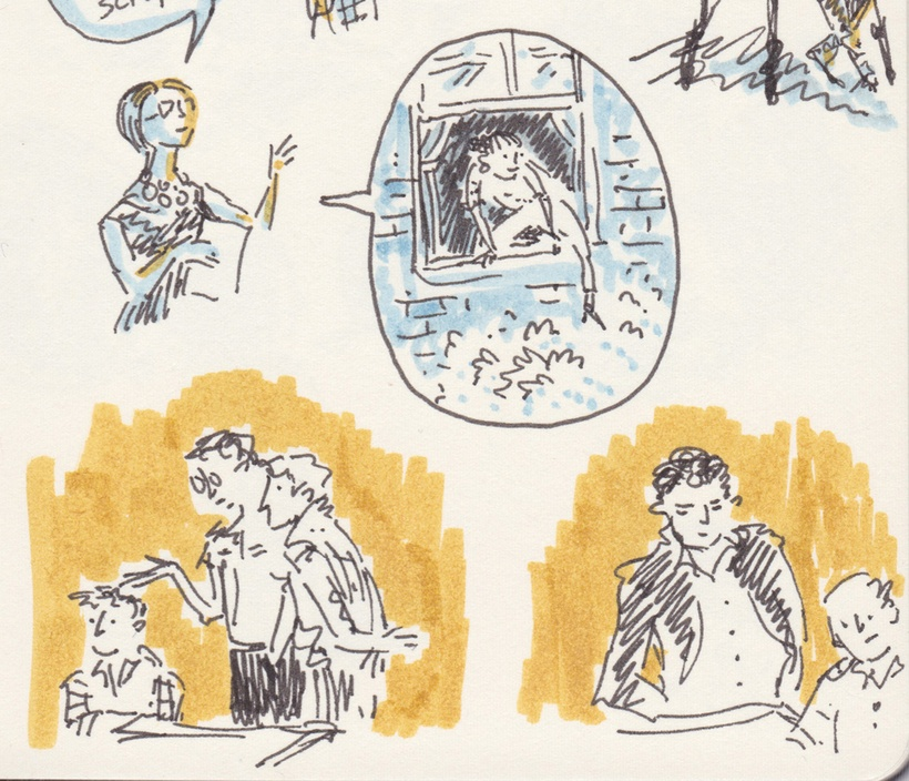 Tiny black-line drawing with dashes of blue and yellow marker. People sit and stand at tables, talking. A woman describes a girl climbing out a window.