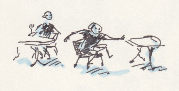 Tiny black-line drawing with dashes of blue marker. One person sits at a table while another scoots their chair to a different table.