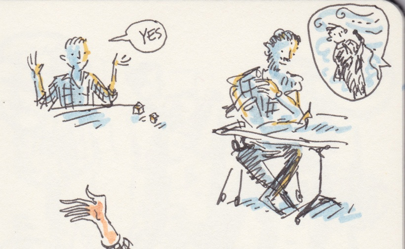 """Tiny black-line drawing with dashes of blue and yellow marker. A man rolls dice and says """"yes"""". Another writes while someone off the page describes a reporter in a storm. A hand waves into view."""
