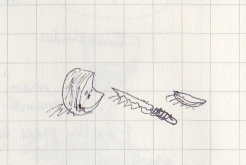 Pen sketch of cut apple and knife