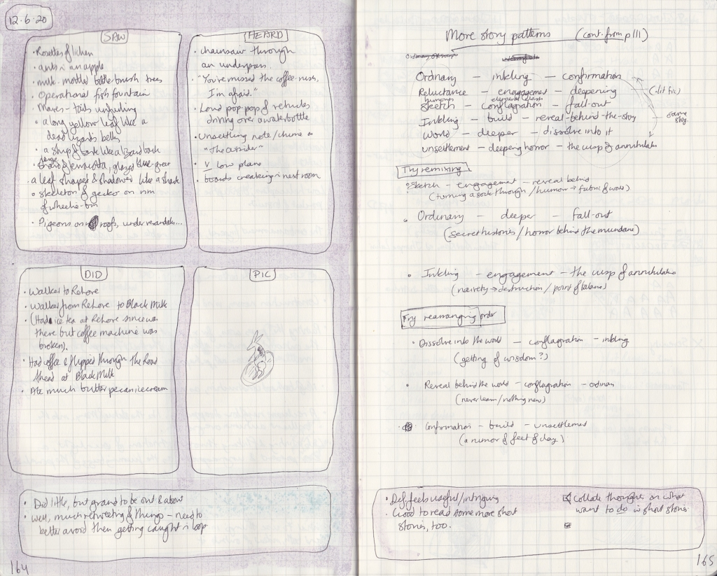 Double handwritten page of observation journal. On left page, 5 things seen, heard, and done, and a picture of a toy rabbit. On the right, notes on story structures.