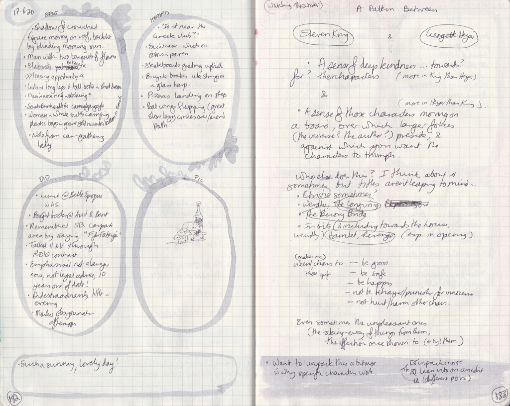 Handwritten observation journal —on the left, five things seen, heard, done, a drawing of a bottle near some fake mushrooms. On the right, notes on sympathetic characters.