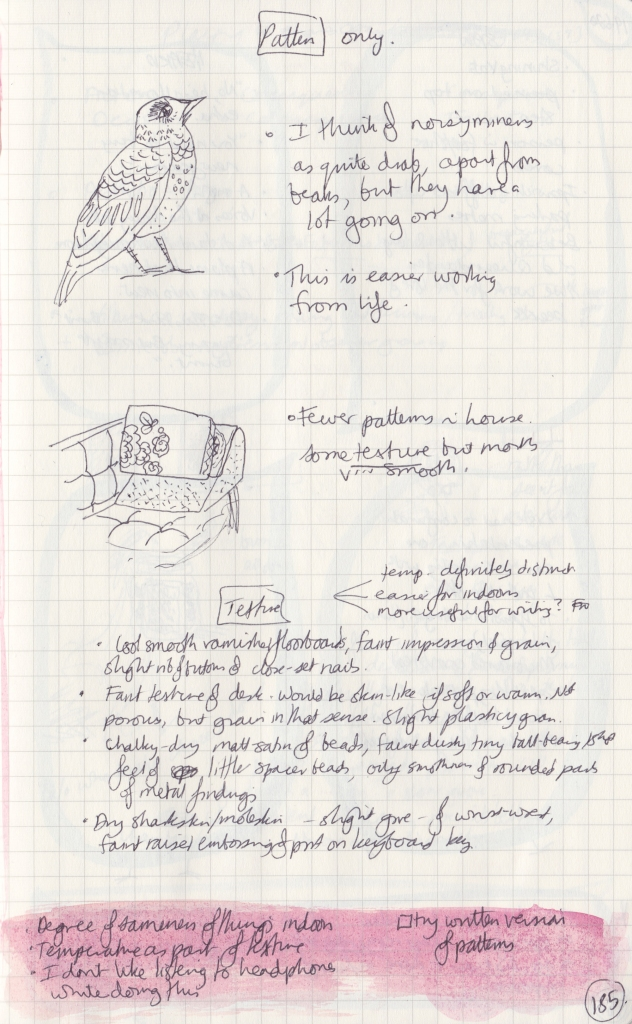 Sketch of a noisy miner and some cushions on a sofa, and handwritten notes on pattern and texture.