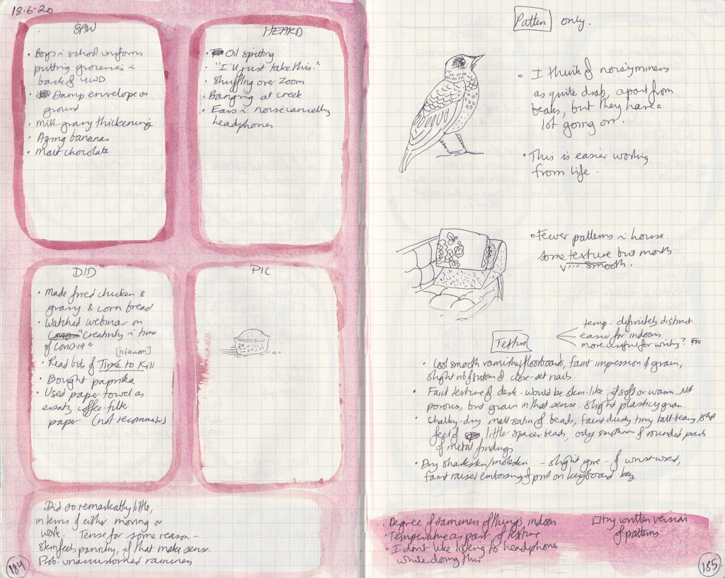 Handwritten double page spread. On the left, five things seen, heard, done, and a picture. On the right, sketches and notes of patterns and textures.