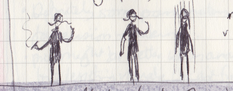 Three pen drawings of a moustachioed villain, one with an arm-cast, one in pouring rain.