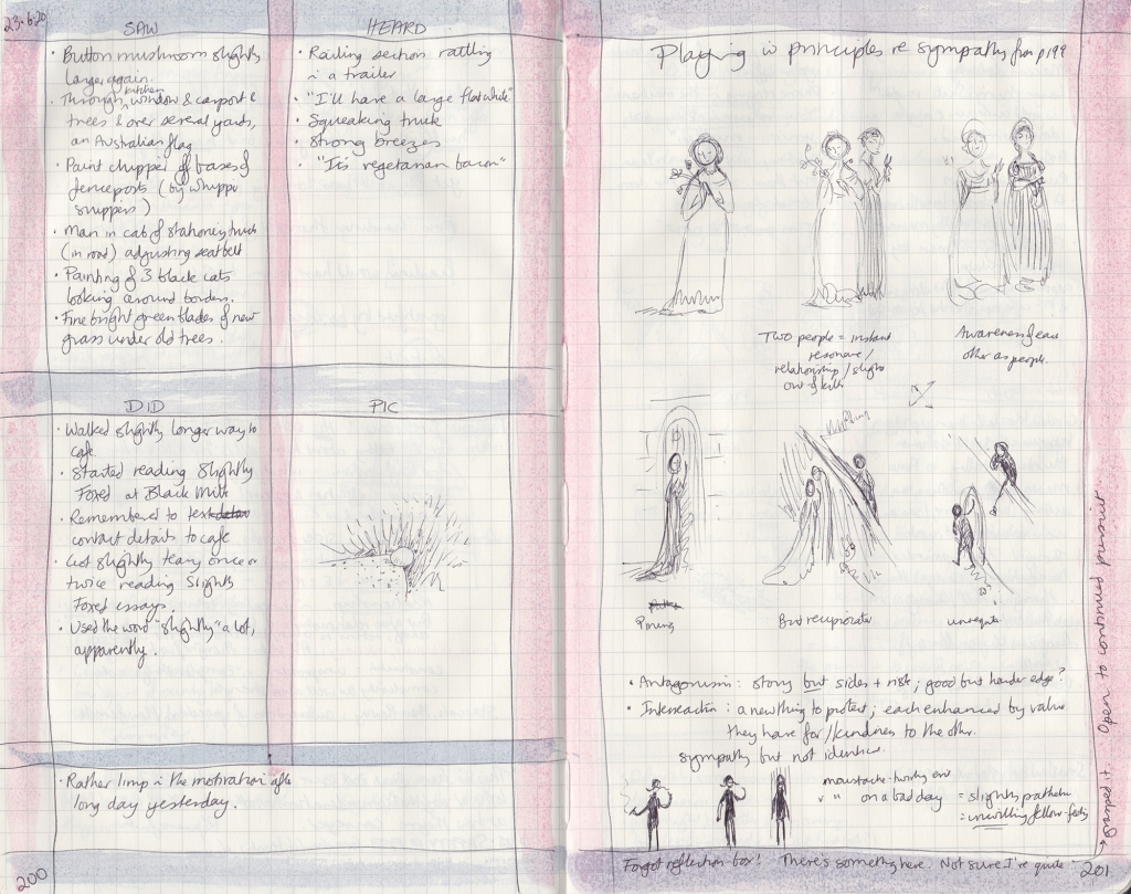 Handwritten observation journal —on the left, five things seen, heard, done, a drawing of a mushroom beside a path. On the right, notes on sympathetic characters.