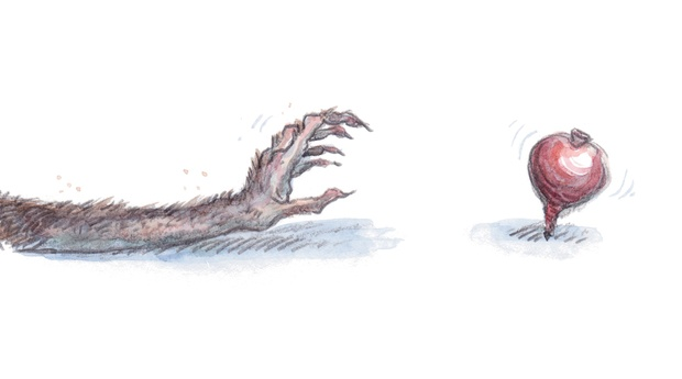 Pencil and watercolour drawing of a long hairy arm and clutching clawed hand reaching towards a red spinning-top.