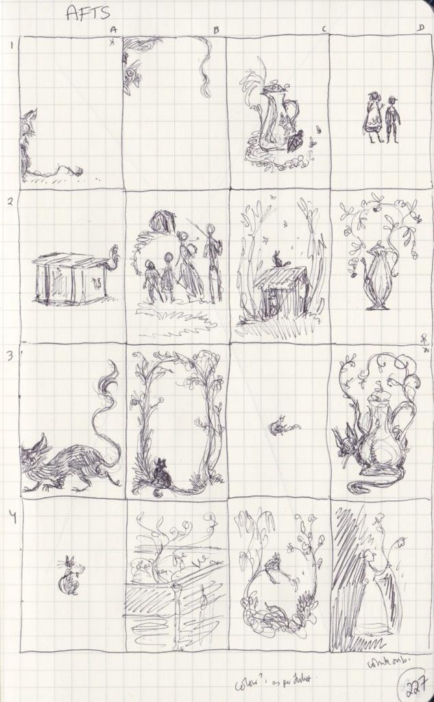 16 ballpoint thumbnail sketches