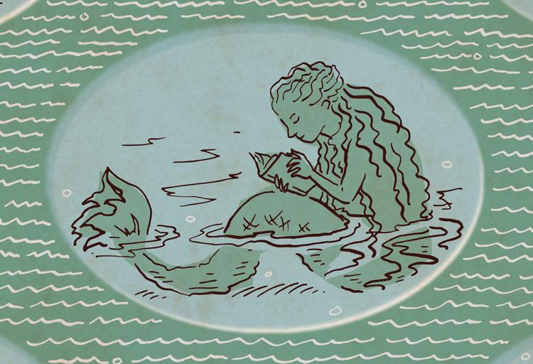 Drawing of mermaid sitting in water reading.
