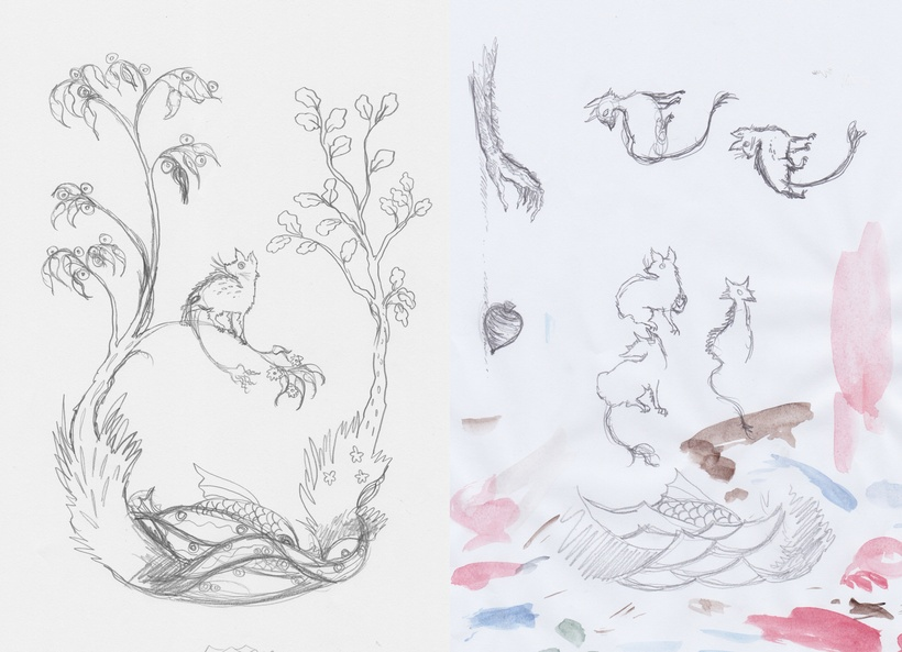 Pencil drawings of trees and waves and creatures with long tails.