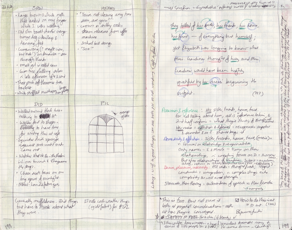 Two page handwritten observation journal spread. On the left page, 5 things seen, heard, and done. On the right, notes on a sentence.