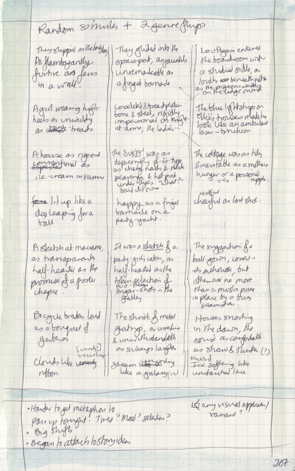 Right page of observation journal, with three columns and a variety fo flipped descriptions.