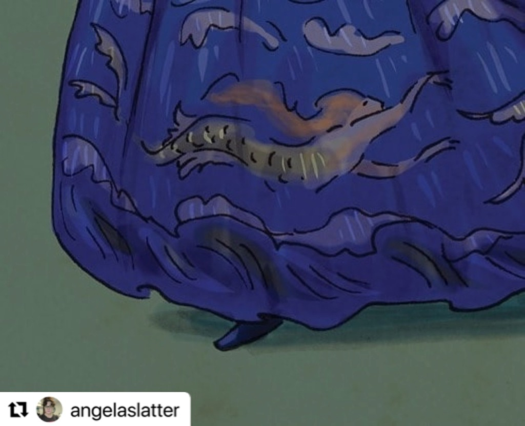 Bottom of a drawing of a blue skirt embroidered with mermaids.