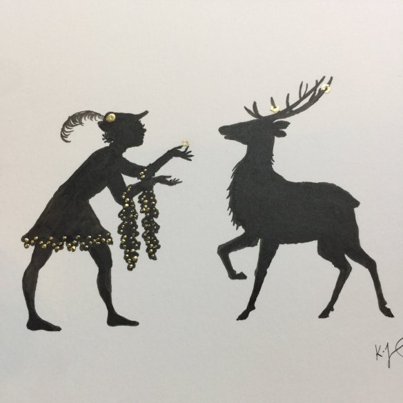 A silhouette of a man in medieval garments offering a gold ring to a stag with rings on its antlers.