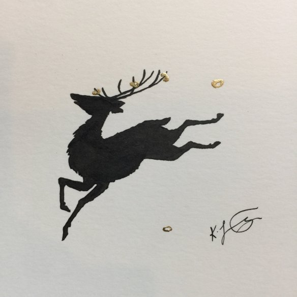 A silhouette of a stag with gold rings on its antlers leaping