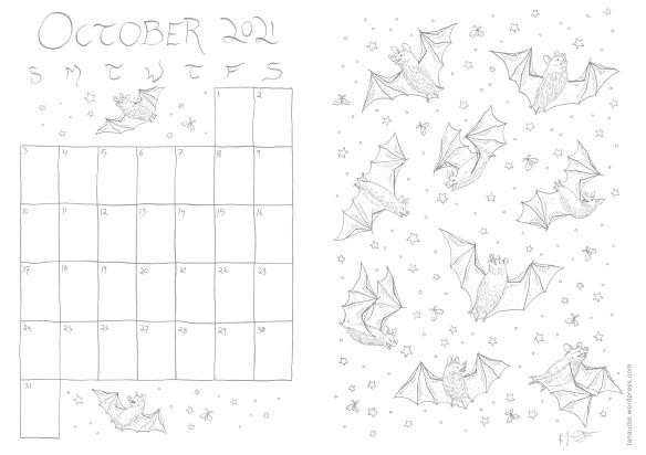 Printable calendar with pattern of bats — linework